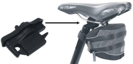 Torebka podsiodłowa, w której standardowe mocowanie na pasek okalający pręty siodła zastąpiono uchwytem stalilizującym typu KLICK. Podobnie jak w standardzie rurę siodła okala rzep.