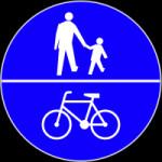 Droga dla pieszych i rowerzystów. Jeśli rower jest na dole znaku, pierwszeństwo zawsze mają piesi. Jeśli piktogramy są ułożone odwrotnie - pierwszeństwo na drodze mają rowerzyści, którzy  mogą wybrać ulicę .