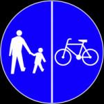 """""""Droga dla rowerów i pieszych"""" - wskazuje strony, po których powinni poruszać się piesi i rowerzyści. W tym przypadku rowerzyści  mogą jeździć równoległą jezdnią  - chyba że zakazuje tego osobny znak."""