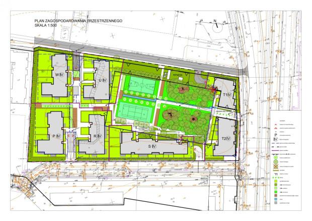 Projekt zagospodarowania terenu. Niezabudowany obszar w centralnej części to teren dawnego cmentarza. Kliknij w obraz, by pobrać wersję w PDF.