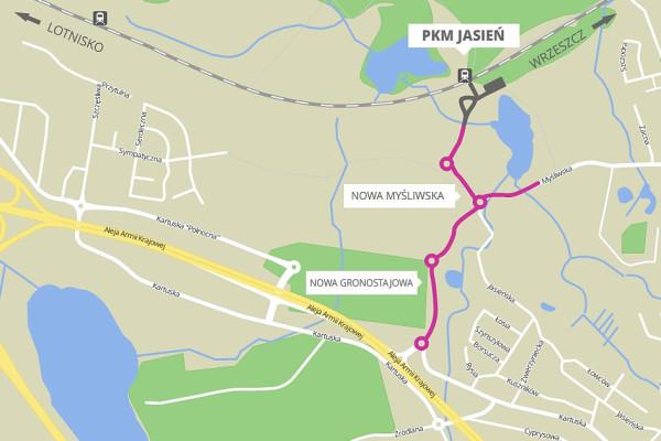 W ramach budowy węzła przesiadkowego PKM Jasień powstaje 1,5 kilometra dróg.
