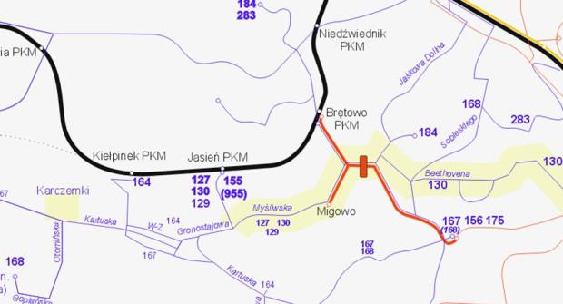 Układ linii komunikacji miejskiej po wprowadzeniu zmian.