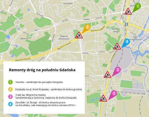 Remonty dróg na południu Gdańska