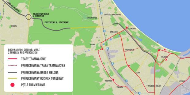 Planowany zakres inwestycji obejmuje: Nową Kielnieńską od obwodnicy metropolitalnej (wcześniej pomijano ją w dyskusji o projekcie), Nową Spacerową z tunelem pod Pachołkiem oraz Drogę Zieloną do al. Hallera.