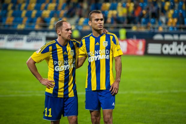 Marcus (z prawej) 33. gola w oficjalnych meczach Arki zdobył na inaugurację sezonu, w Pucharze Polski przeciwko Pogoni Siedlce. Obecnie najlepszym snajperem żółto-niebieskich jest Rafał Siemaszko (4 trafienia).