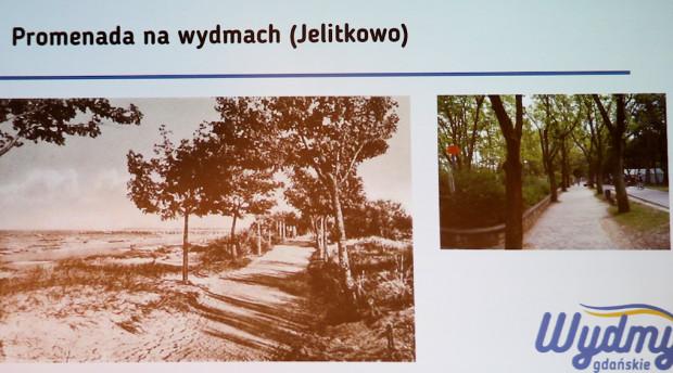 Porównanie wyglądu odcinka bulwaru nadmorskiego w Jelitkowie sprzed ok. stu lat i obecnie.
