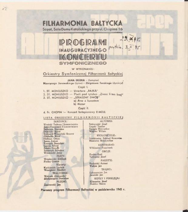 Program koncertu inaugurującego działalność Filharmonii Bałtyckiej, odnaleziony w zbiorach w Archiwum Państwowego w Gdańsku - sygnatura APG 1622/94/10/012.