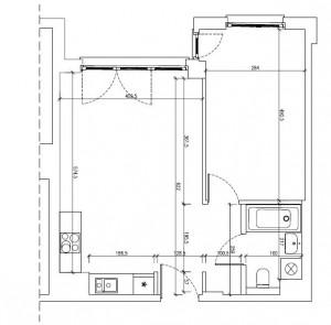 Wymiary mieszkania. Podziały i aranżacja proponowana przez dewelopera.
