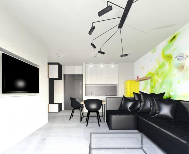 Koncepcja druga. Prostotę wnętrza podkreśla wykończenie podłogi surowym betonem.