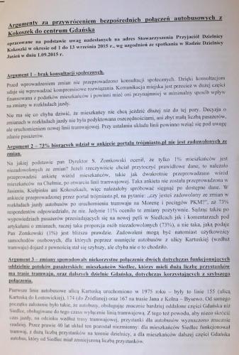 Argumenty za przywróceniem połączenia autobusowego Kokoszki-centrum miasta przekazane ZTM-owi kilka dni przed spotkaniem.