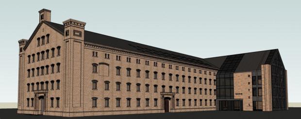 Wizualizacja hotelu, który ma powstać w ruinach jednego z budynków zakładów mięsnych w Gdańsku.
