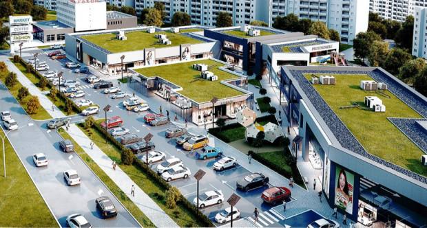 Pierwotna, robocza i nieaktualna już koncepcja zabudowy handlowej przy al. Jana Pawła II.