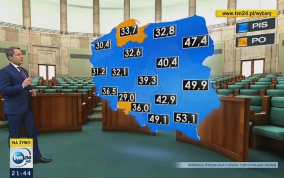 Niebieskie - województwa, gdzie wygrało Prawo i Sprawiedliwość, pomarańczowe - tu wygrała Platforma Obywatelska.