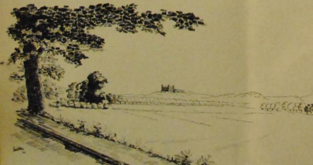 """Tak prezentowałaby się panorama wzgórz morenowych na granicy Strzyży Górnej i Oliwy z dominującą sylwetką Szkoły Wojennej Wojsk Lądowych. Rysunek z magazynu """"Soldat im Weichselland"""" 1940, nr 2."""