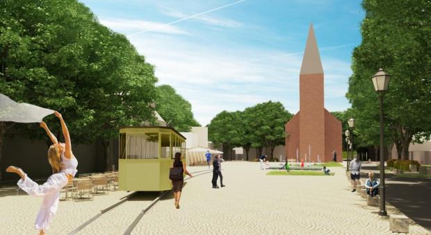 Koncepcja atrakcyjnej przestrzeni publicznej na Oruni (ul. Gościnna), ujęta w mikrostrategii.