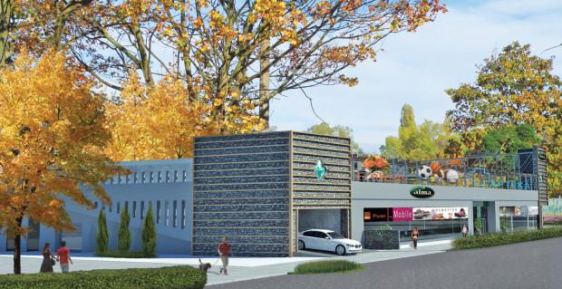 """Centrum handlowe """"Kamyk Zielony"""" posiadać będzie parking na dachu. Samochody będą tam wjeżdżać od ul. Czerwony Dwór."""