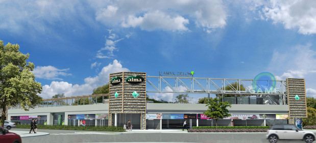 """Centrum handlowe """"Kamyk Zielony"""". Widok od skrzyżowania Chłopska - Jagiellońska - Czerwony Dwór."""