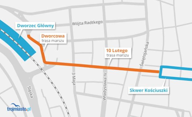 Trasa przemarszu tegorocznej parady w Gdyni 11 listopada.