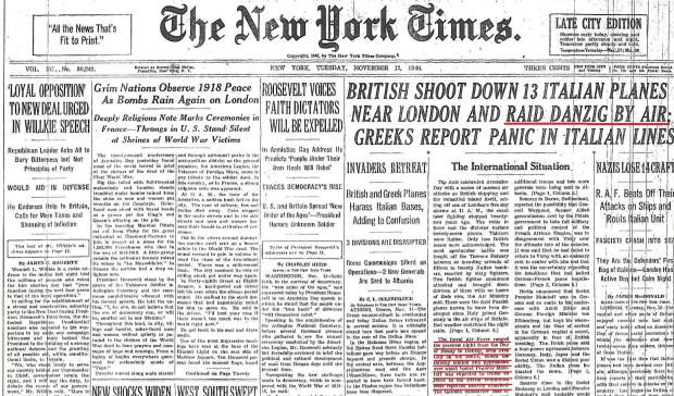 12 listopada 1940 roku New York Times donosił - co prawda w jednym zdaniu - o brytyjskim nalocie na Gdańsk.