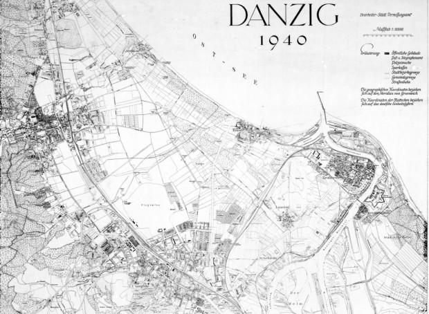 Mapa Gdańska z 1940 r.