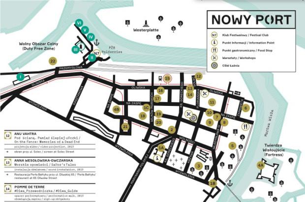 Mapa Narracji 2015, można ją otrzymać w punkcie informacyjnym w budynku byłego Morskiego Klubu Kultury.