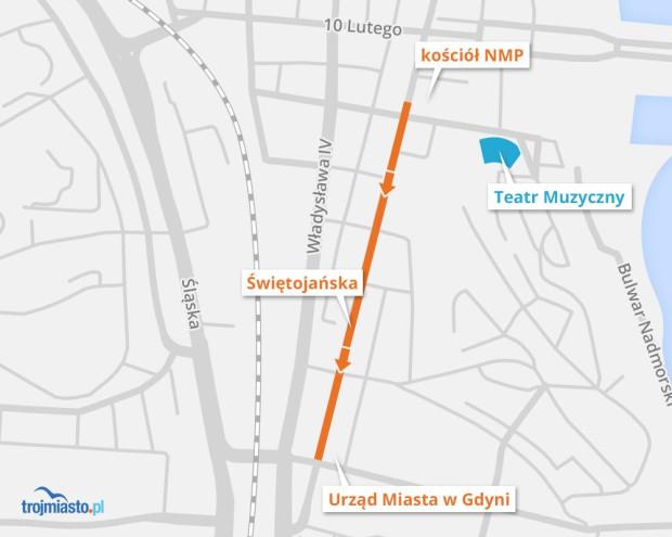 Trasa marszu solidarności z ofiarami ataków terrorystycznych w Gdyni.