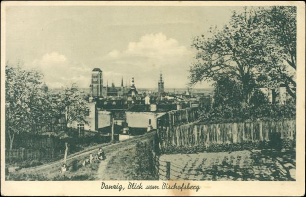 Awers pocztówki prezentującej panoramę Gdańska ze szczytu Biskupiej Górki, wysłanej przez jednego ze strażników komanda robotniczego (luty 1940 r.) (ze zbiorów Krzysztofa Gryndera)