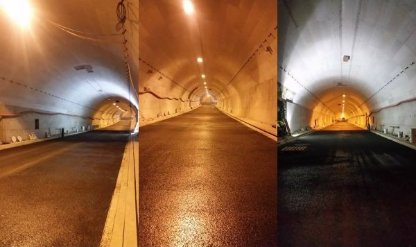 W tunelu zostało wylane już kilkaset metrów asfaltu. Wszystkie prace wewnątrz potrwają do końca roku.