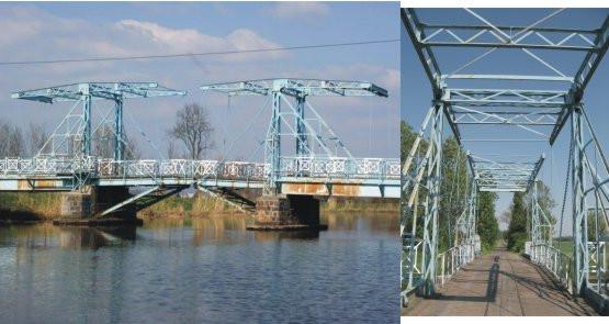 Jeden z najpiękniejszych dwuprzęsłowych mostów zwodzonych na Żuławach znajduje się niedaleko wsi Jezioro; na rzece Tina