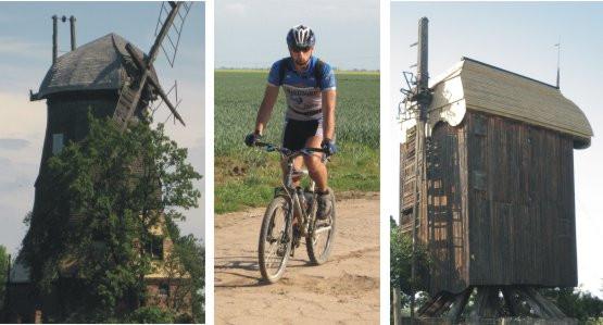 Żuławskie wiatraki: z lewej typowy holender we wsi Palczewo; z prawej wiatrak typu koźlak we wsi Drewnica