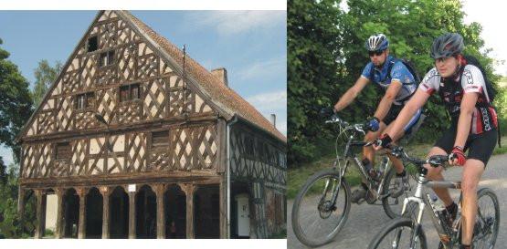 wieś Klewki z okazałym domem podcieniowym zaliczanym do najbardziej monumentalnych i malowniczych domów podcieniowych na całych Żuławach