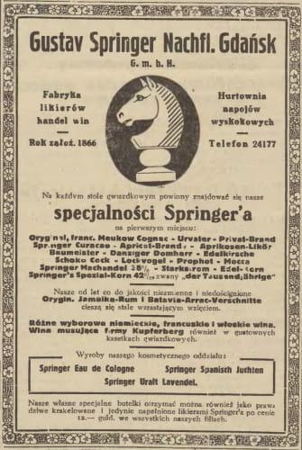 Reklama firmy w polskiej prasie, ukazała się w Gazecie Gdańskiej, 22 grudnia 1938 r.