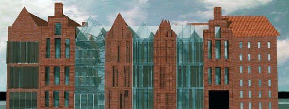 Ośrodek Kultury Morskiej stanie w miejsce budynku dawnej kotłowni, w którym dziś mieści się część zbiorów CMM. Stworzenie nowej placówki będzie kosztowało ok. 48 mln zł. Projekt budynku powstał w APA Mirosława Frąszczaka.