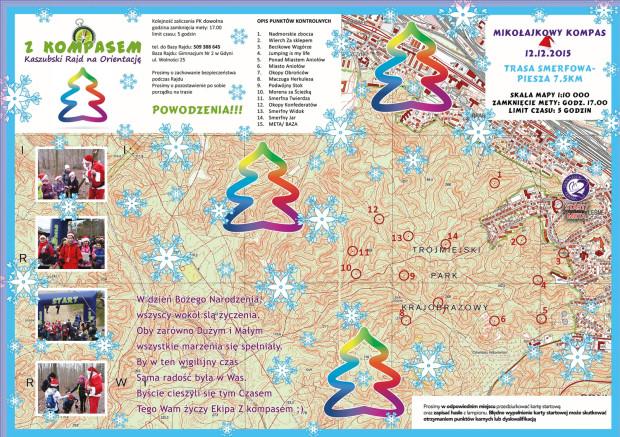 Mapa z Trasy Smerfowej z rozsianymi po lesie punktami kontrolnymi (kliknij i powiększ jej widok)