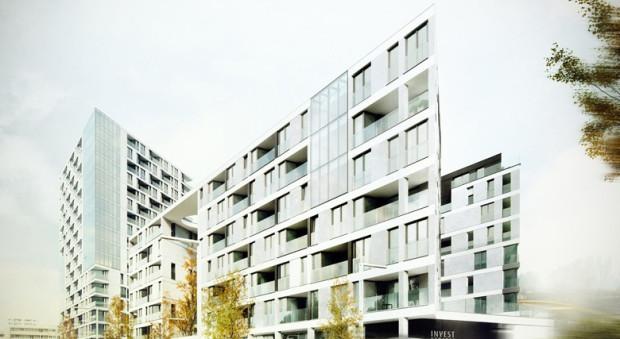 Wizualizacja zabudowy przez Węźle Wzgórze przygotowana przez pracownię Wolski w 2013 r.