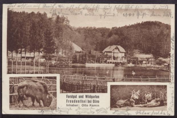 Pocztówka z 1932 r. prezentująca zwierzyniec w Dolinie Radości (ze zbiorów Krzysztofa Gryndera)