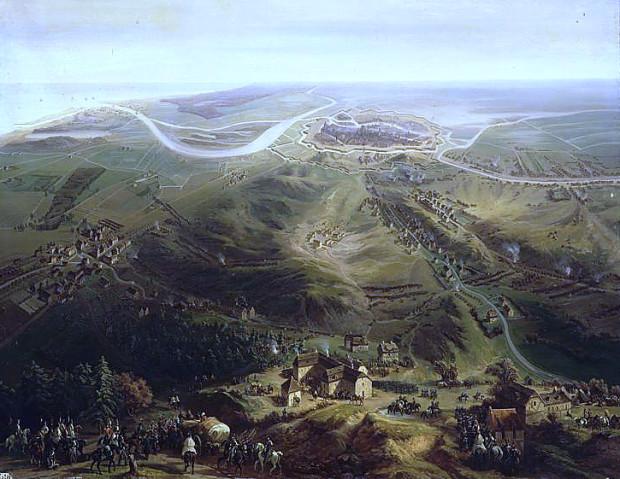 Widok na Gdańsk oblegany przez wojska francusko-polsko-saskie w 1807 r. Obraz francuskiego malarza Jeana-Antoine'a-Siméona Forta.