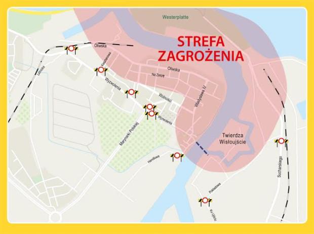 Mapa z zaznaczonym terenem, który zostanie czasowo zamknięty.