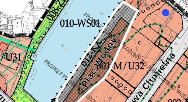 Fragment projektu planu z zaznaczeniem Placu Wodnego i bulwaru nad Starą Motławą.
