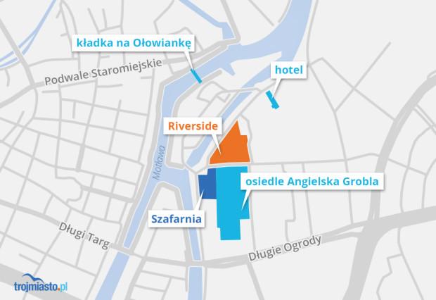 Nowe i planowane inwestycje na wschodnim brzegu Motławy.