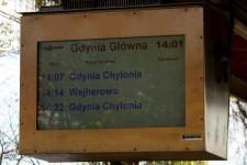Informacje na stacji SKM w Oliwie, choć również na monitorze LCD, są wyraźne ze względu na dobry dobór użytych kolorów.