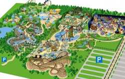 Mapa parku rozrywki Toverland w Holandii.