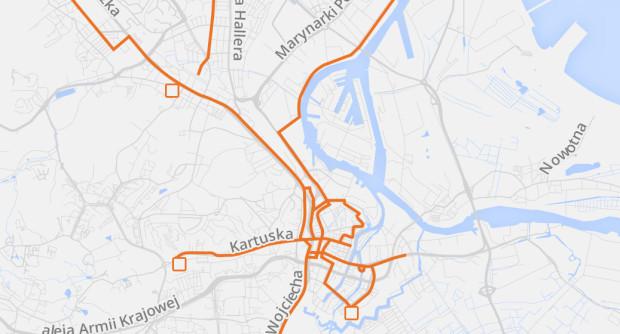 Sieć tramwajowa w 1914 r. naniesiona na współczesny układ ulic.