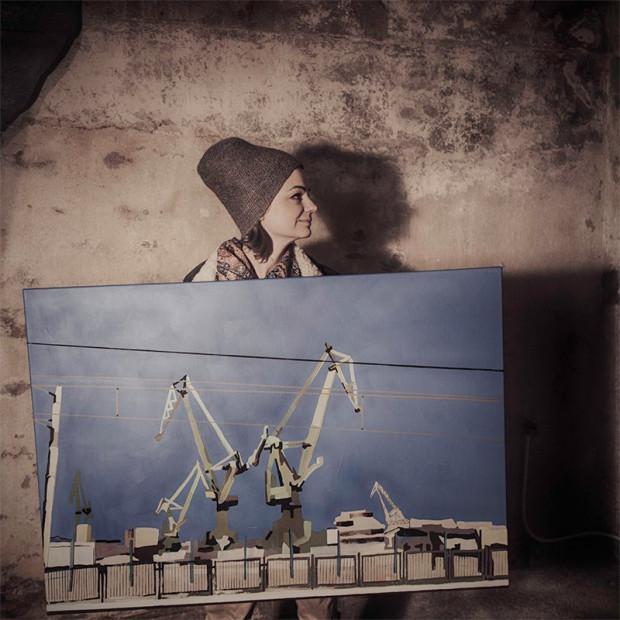 Prace Agnieszki Nagórskiej to oszczędne w formie wycinki ze stoczniowego krajobrazu.