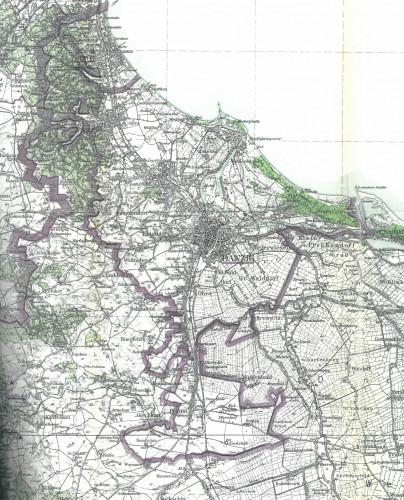 """Plan z 1942 r. z widocznym """"Wielkim Gdańskiem"""", już uwzględniający powiększenie administracyjne z 1 kwietnia tego roku. To prawdopodobnie jedyna obecnie znana mapa przedstawiająca Gdańsk właśnie po tej zmianie administracyjnej."""