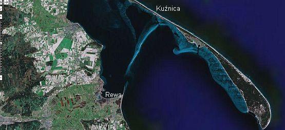 Płyciznę pomiędzy Kuźnicą i Rewą widać na zdjęciach satelitarnych.