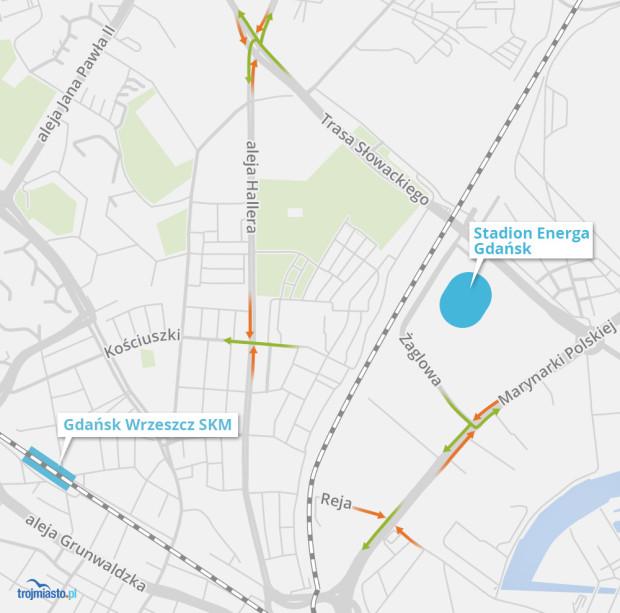 Wokół Energa Stadionu Gdańsk do nowego programu zostały wpięte cztery skrzyżowania.