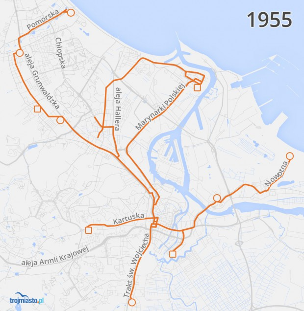 Sieć tramwajowa w 1955 r. naniesiona na współczesny układ ulic.