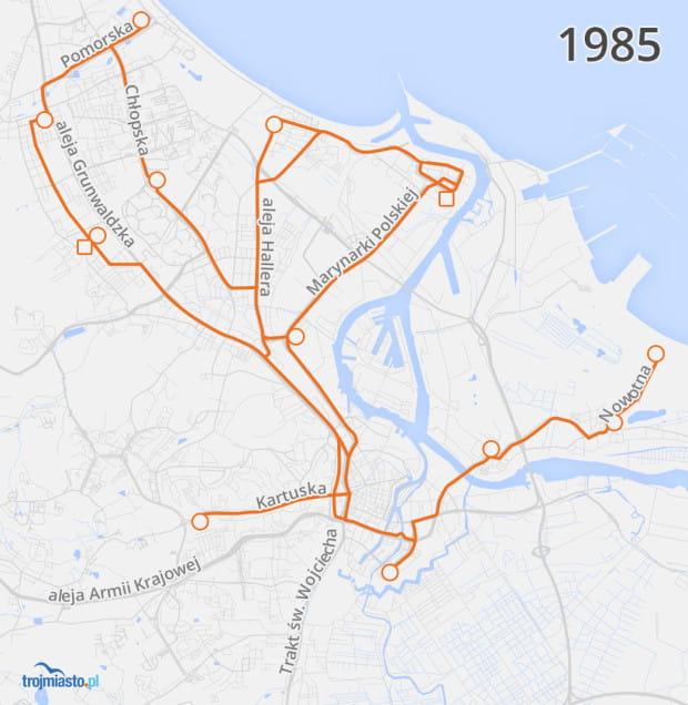 Sieć tramwajowa w 1985 r. naniesiona na współczesny układ ulic.