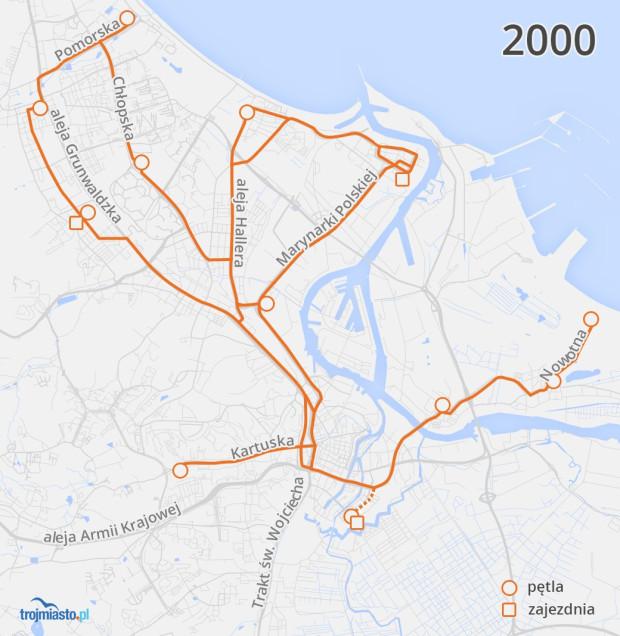Sieć tramwajowa w 2000 r. naniesiona na współczesny układ ulic.